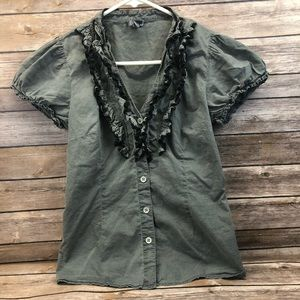 🌵 Odille ruffle button front shirt Anthropologie